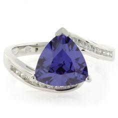 Silver Trillion Cut Tanzanite Ring