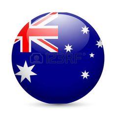 Bandera de Australia como redonda icono brillante. Botón con la bandera de Australia