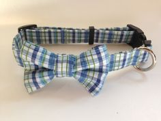 Blue Plaid Bow Tie Dog Collar size Large by jeanamichelle on Etsy, $18.50