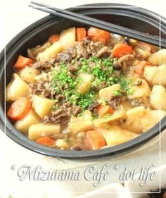 """Niku-jaga cooked with Tajin Pot"" Cheeseburger Chowder, Soup, Potatoes, Meat, 300g, Cooking, Recipes, With, Oriental"