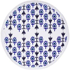 SwimZip Circle Beach Towel  Ikat Blue and Black ** Details can be found by clicking on the image.