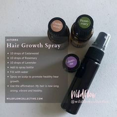 #hairgrowth #essentialoils #doterra + 10 drops of Cedarwood + 10 drops of Rosemary + 10 drops of Lavender + Add to a spray bottle with water.
