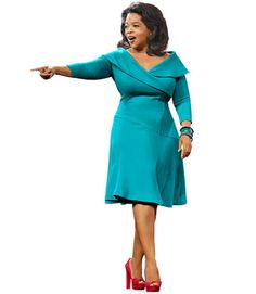 To balance your body, highlight your little middle. Shop for fluid knits and deep necklines to showcase curves. No muu-muus here: Ms. Winfrey knows close-cut tailored classics visually nip and tuck.