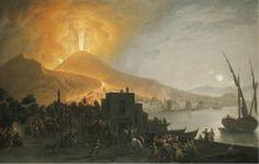 pietro fabris  - 'the eruption of vesuvius of 1767, seen from the ponte della maddalena, naples',  oil on canvas.