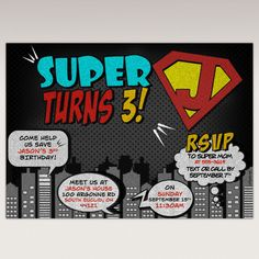 Chalkboard Superhero Birthday Party Invitation Super Hero Party #343 by PNArt on Etsy https://www.etsy.com/listing/221360429/chalkboard-superhero-birthday-party