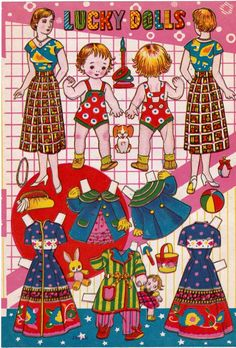 Japanese paper dolls 4 pages postwar late 1940s