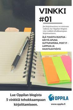 5 vinkkiä tehokkaampaan kirjoittamiseen - Vinkki #1