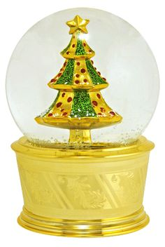 Golden Christmas Tree snow globe  from snowdomes.com