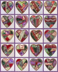 I ❤ crazy quilting beading, & embroidery . . . Pretty Crazy Heart Quilt, made with 4 by 4 hearts.
