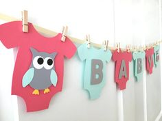 Baby One-Piece Bodysuit BABY Owl Baby Shower Banner: Coral Mint and Gray Gender Neutral Baby Shower - Rosalie Baby Name - Ideas of Rosalie Baby Name - Baby One-Piece Bodysuit BABY Owl Baby Shower Banner: Coral Mint and Gray Gender Neutral Baby Sho Fotos Baby Shower, Deco Baby Shower, Bebe Shower, Grey Baby Shower, Gender Neutral Baby Shower, Baby Shower Balloons, Baby Boy Shower, Baby Gender, Tarjetas Baby Shower Niña