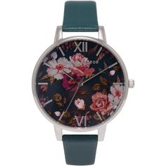 Olivia Burton Women's Winter Garden Floral Leather Strap Watch ,... ($105) ❤ liked on Polyvore featuring jewelry, watches, floral watches, silver dial watches, floral jewelry, olivia burton and dial watches