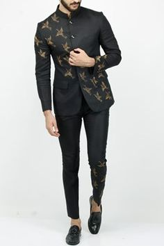 Featuring a black linen bandhgala set with crane hand embroidery. It comes along with matching pants. Fabric: Linen Care Instructions: Dryclean Only Indian Men Fashion, Mens Fashion Suits, Mens Suits, Suit For Men, India Fashion Men, Best Suits For Men, Black Suit Men, Man Fashion, Wedding Dresses Men Indian