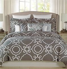 Max Studio 3pc Full Queen Duvet Cover Set Large Scroll Moroccan Tiles Quatrefoil Charcoal Gray White Ash Grey Lattice Trellis, http://www.amazon.com/dp/B0141702SC/ref=cm_sw_r_pi_awdm_uIB3vb08A91RN