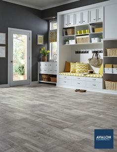 Patina Sheet Vinyl flooring shown in the Ash color | Available at Avalon Flooring | Starting at $1.99/square foot | #vinylflooring #luxuryvinylflooring #sheetvinylflooring