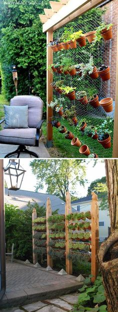 Vertical Terracotta Pots Garden Double as a Privacy Screen
