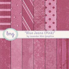 Pink Denim Scrapbook Paper by Lavender Mint Graphics on @creativemarket