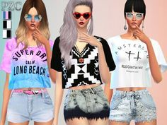 The Sims Resource: Lover Set -Tops, Shorts and Nails by Pinkzombiecupcake • Sims 4 Downloads