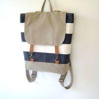 Light Navy Stripe and Beige Backpack, Unique Design of BagyBag