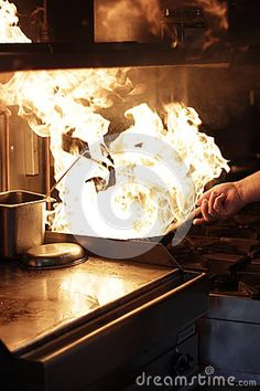 Dish made by flambe cooking