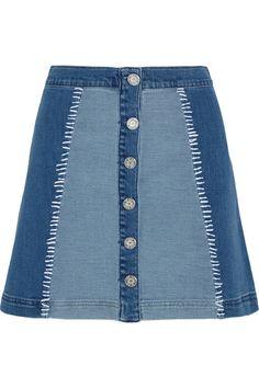 House of Holland   Patchwork stretch-denim mini skirt   NET-A-PORTER.COM