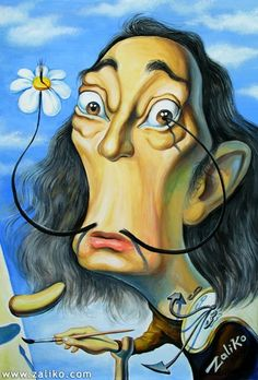 SALVADOR DALI....CARICATURE...BY ZALIKO.COM....