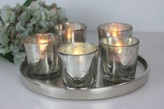 This lovely round vintage silver Aluminium Tray comes with 5 Mercury glass votives for tealights or even small posies. A beautiful, decorative and atmospheric piece. #frenchinspired #winter