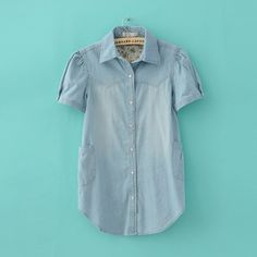 Light Blue Puff Sleeve Slim Goethe Blouse For Women
