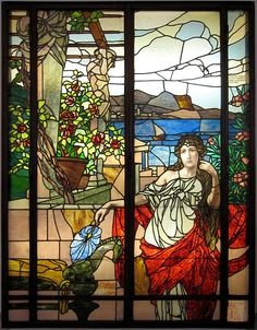 Stained glass window by Carl Geyling's Erben, made around 1900 for the old Theater an der Wien. Artist unknown. Glasmuseum Mariahilf.