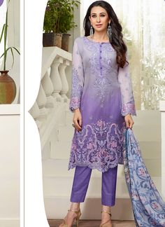 Different Unque Color Embroid Straight Party Wear Straight Suit with Cigrrate Style Pant