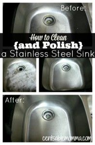 to Clean {and Polish} a Stainless Steel Sink Just 3 steps using common household ingredients to have a clean and shiny stainless steel sink!Just 3 steps using common household ingredients to have a clean and shiny stainless steel sink! Deep Cleaning Tips, House Cleaning Tips, Diy Cleaning Products, Cleaning Solutions, Cleaning Hacks, Diy Hacks, Green Cleaning Recipes, Spring Cleaning Tips, Cleaning Supplies