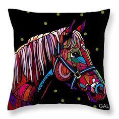 Horse Art Pillow - - Throw Pillow - Folk Art by Heather Galler (HG517)