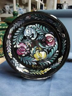 An 8 Black Stoneware Plate Hand Painted in an by FolkArtByNancy, $28.00