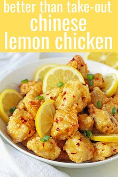 chinese meals Chinese Lemon Chicken made with crispy fried chicken covered in an authentic, fresh lemon sauce. The ultimate Chinese Lemon Chicken Recipe which is way better than take-out Easy Chinese Recipes, Asian Recipes, Healthy Recipes, Recipes With Lemon, Chinese Meals, Chinese Food Dishes, Healthy Thai Food, Lemon Recipes Dinner, Homemade Chinese Food