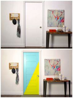 How to paint an interior door - practical tips and over 100 inspiring ideas The big trends in interior design have already been unveiled. On the program: the colorful entrance doors that are true decorative elements. Home Decor Painted Trays, Painted Doors, Honeycomb Tile, Basement Painting, World Map Wallpaper, Yellow Doors, Rustic Apartment, Interior Design Inspiration, Gallery Wall