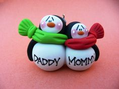 Personalized Penguin Couple Clay Christmas ornament via Etsy