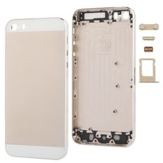 [USD64.73] [EUR60.27] [GBP46.57] Full Housing Alloy Replacement Drill Back Cover with Mute Button + Power Button + Volume Button + Nano SIM Card Tray for iPhone 5S