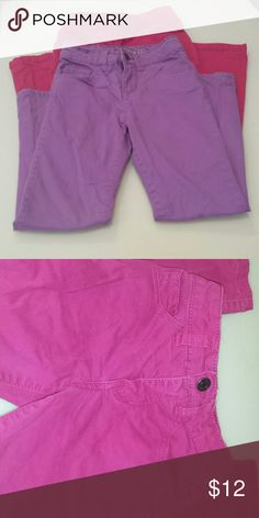 VGUC Size 6 Pink and purple pants VGUC Girls pants bundle. Some light discoloration on the pink pair. Purple EUC. Adjustable waist on both pairs. Cherokee brand. Cherokee Bottoms Jeans
