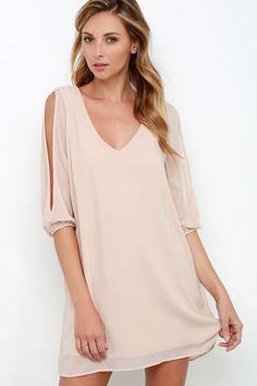 Shifting Dears Pale Blush Long Sleeve Dress at Lulus.com!