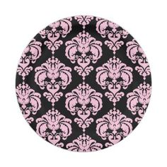 Light Pink & Black Damask Chic Elegant Party Paper Plate - bridal shower gifts ideas wedding bride