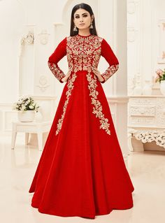 Buy Mouni Roy Red Silk Long Anarkali Suit 89370 online at lowest price from vast collection at m.indianclothstore.c.