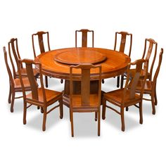 66in rosewood longevity design round dining table with 10 chairs
