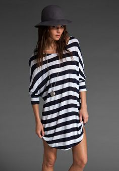 BRANDY MELVILLE Stacy Tunic Dress in Navy/White Stripe at Revolve Clothing - Free Shipping!