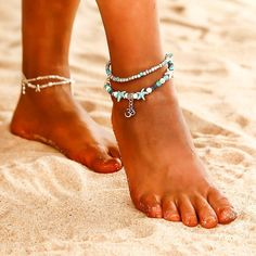 36f2dca4475 NS35 Bohemian Multiple Layers Starfish Turtle Beads Anklets For Women  Vintage Boho Shell Chain Anklet Bracelet Beach Jewelry