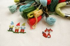 Cute fox Cross stitch pattern free