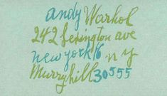 andy warhol's business card via http://www.designformankind.com/2013/02/thought-confetti/