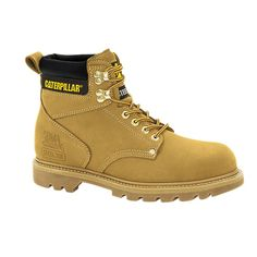 Men's Caterpillar Second Shift Steel Toe Work Boot - Honey Nubuck Boots Caterpillar Boots, Rain Boots, Shoe Boots, Yellow Boots, Steel Toe Work Boots, Boating Outfit, Mid Calf Boots, On Shoes, Shoes Men