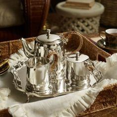 ラフィアハンドルのシルバーティーセット Darian 3-Piece Tea Set | インテリア - キッチン・クッキング - 食器その他|海外通販ならLASO(ラソ)