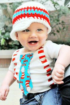Dr Seuss Cat in the Hat Boys Tie Bodysuit with Suspenders and crocheted hat -  or pick your own