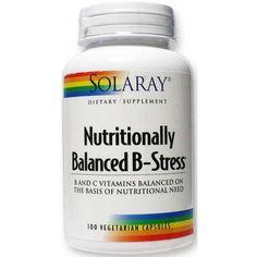 Nutritionally Balanced B-Stress de Solaray es un complemento nutricional que combina todas las vitaminas del grupo B con la vitamina C. 10% de descuento!