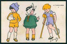 Art Bougle Child Boy Girl Red Cross Nurse Original c1920s Postcard Lot Set of 5 | eBay